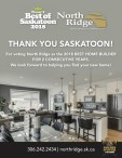 THANK YOU SASKATOON!  For voting North Ridge as the 2018 BEST HOME BUILDER