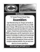 'U' Stamp Pressure Vessel Shop Assemblers Required