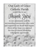 Our Lady of Grace Catholic Parish would like to say Thank You