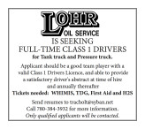 LOHR OIL SERVICE IS SEEKING FULL-TIME CLASS 1 DRIVERS