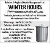 Paintearth Regional Waste Management WINTER HOURS