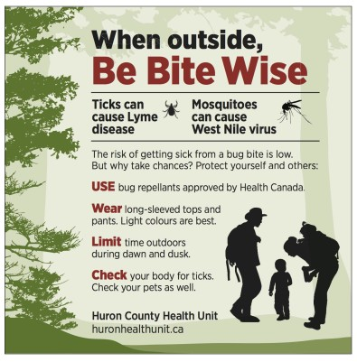 USE bug repellants approved by Health Canada