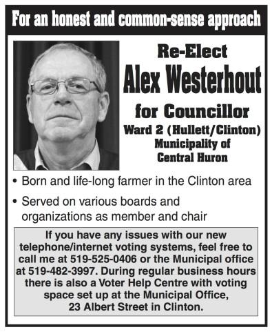 Re-Elect Alex Westerhout for Councillor
