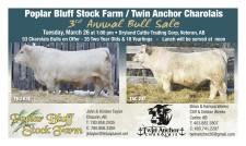 Poplar Bluff Stock Farm / Twin Anchor Charolais 3rd Annual Bull Sale