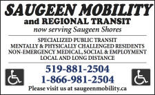 SAUGEEN MOBILITY and REGIONAL TRANSIT now serving Saugeen Shores