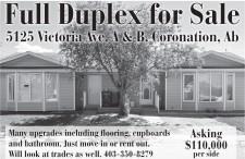 Full Duplex for Sale in Coronation, Alberta