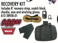 Recover Kit: Includes 8' recovery strap, snatch block, shackle, case and winching gloves.