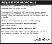 Request for proposals. Seniors Lodge Expansion - Oyen, Alberta