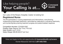 Our Lady of the Rosary Hospital, Castor is looking for: Registered Nurse