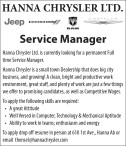 Hanna Chrysler Ltd. is currently looking for a permanent Full time Service Manager.