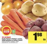 10 LB BAG beets, Farmer's Market carrots, white potatoes or yellow onions