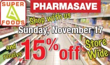 15% off at Super A Foods Pharmasave