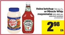 Heinz ketchup 750 mL/1 L or Miracle Whip mayonnaise at Real Canadian Superstore