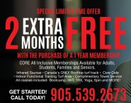 2 EXTRA MONTHS FREE WITH THE PURCHASE OF A 1 YEAR MEMBERSHIP at Core Athletic Clubs