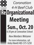 Coronation 4-H Beef Club  ReOrganizational Meeting