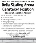 Delia Skating Arena Caretaker Position available