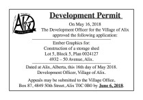 Development Officer for the Village of Alix Approves the Following Applications
