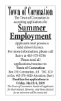The Town of Coronation is accepting applications for Summer Employment