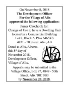 Village of Alix approved the following application