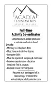Full-Time Activity Co-ordinator wanted