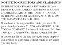NOTICE TO CREDITORS AND CLAIMANTS IN THE ESTATE OF KAREN JOY BARKER