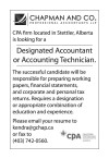 Designated Accountant or Accounting Technician wanted