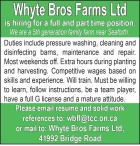 Whyte Bros Farms is hiring for a full and part time positions