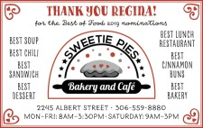 Sweetie Pies THANKS YOU REGINA! for the Best of Food 2019 nominations