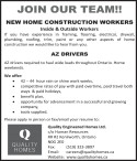 New home construction workers wanted