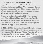 The Family of Edward Rostad is greatly appreciative