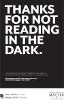 THANKS FOR NOT READING IN THE DARK.