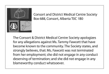 Apology from Consort and District Medical Centre Society