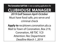 The Coronation Golf Club is now accepting applications for CLUBHOUSE MANAGER